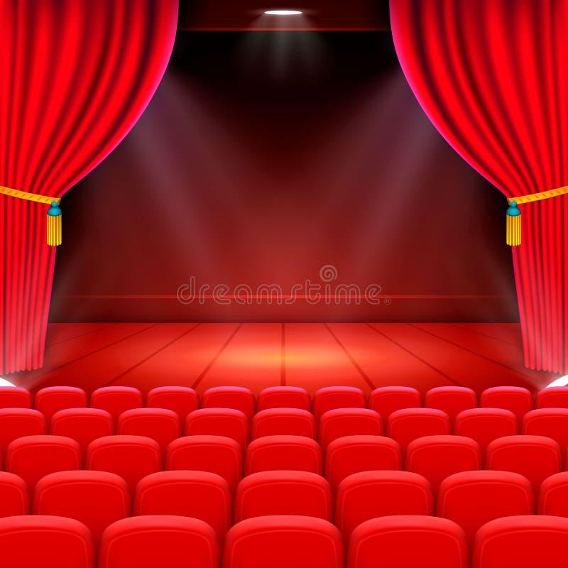 场面戏院背景艺术,在阶段的表现 皇族释放例证