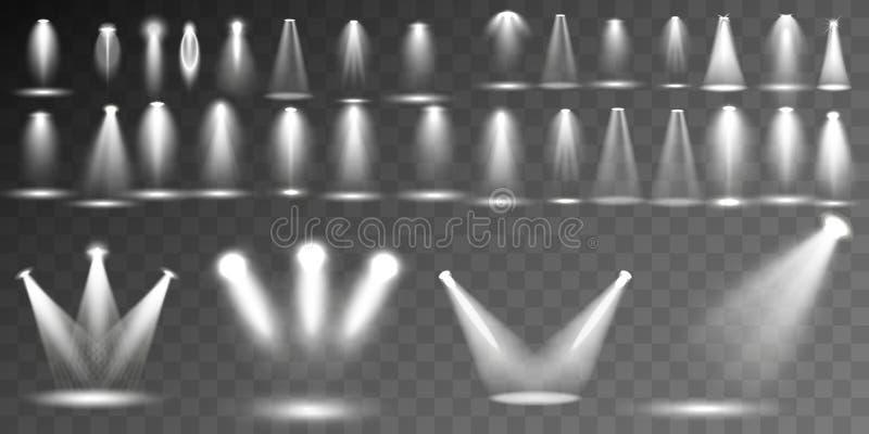 场面照明另外形状和投射收藏,透明特技效果 与聚光灯的明亮的照明设备 库存例证