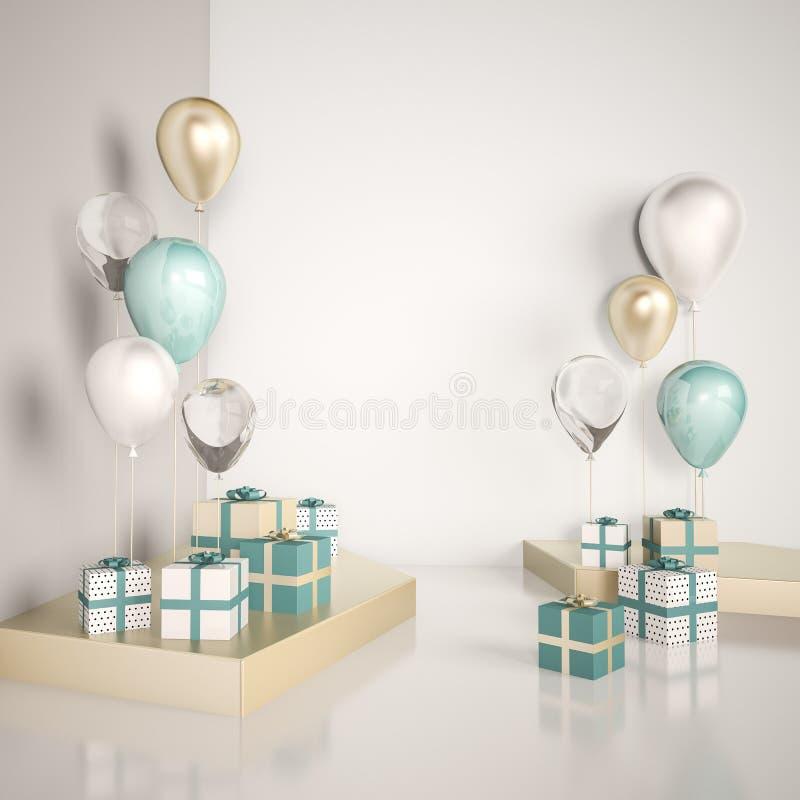 场面的内部嘲笑与蓝色和金礼物盒和气球 现实光滑的3d为生日聚会或电视节目预告海报反对 皇族释放例证