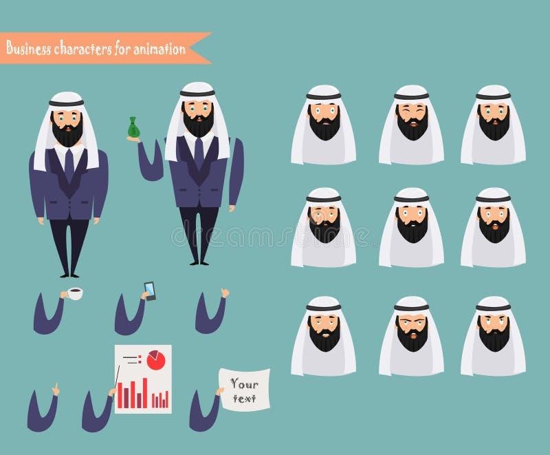 场面的阿拉伯字符 身体模板的部分动画的 向量例证