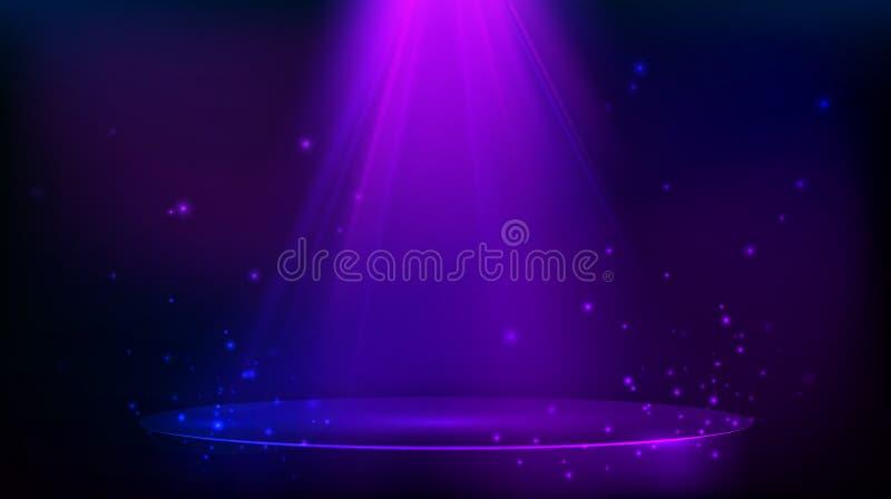 场面阐明与紫色光 与闪烁微粒的不可思议的党背景 r 皇族释放例证