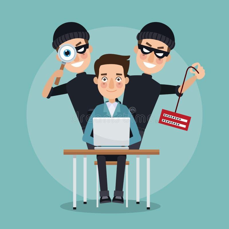 场面颜色书桌的程序员人有膝上型计算机和对窃贼窃取信息和暗中侦察的人黑客的 向量例证