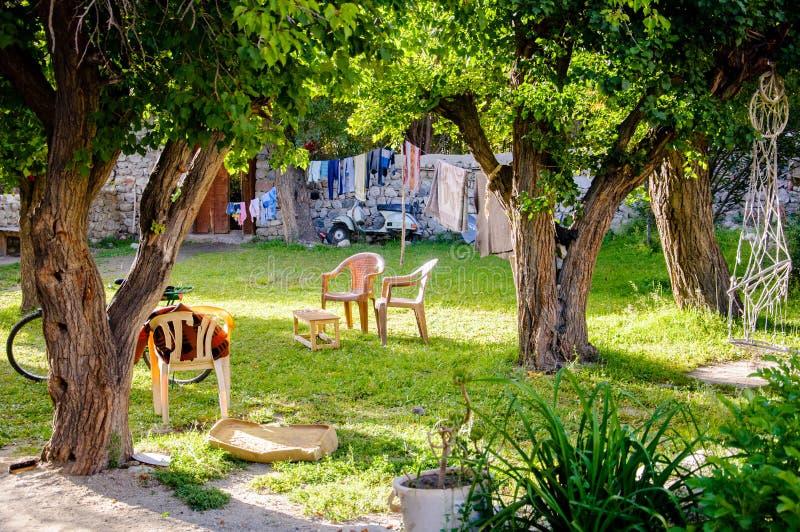 围场, Ladakhi家庭庭院  库存图片