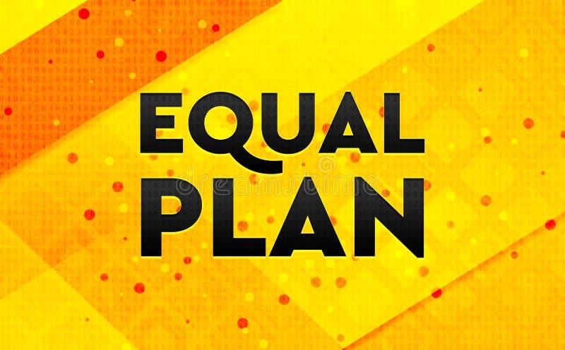 均等计划摘要数字横幅黄色背景 库存例证