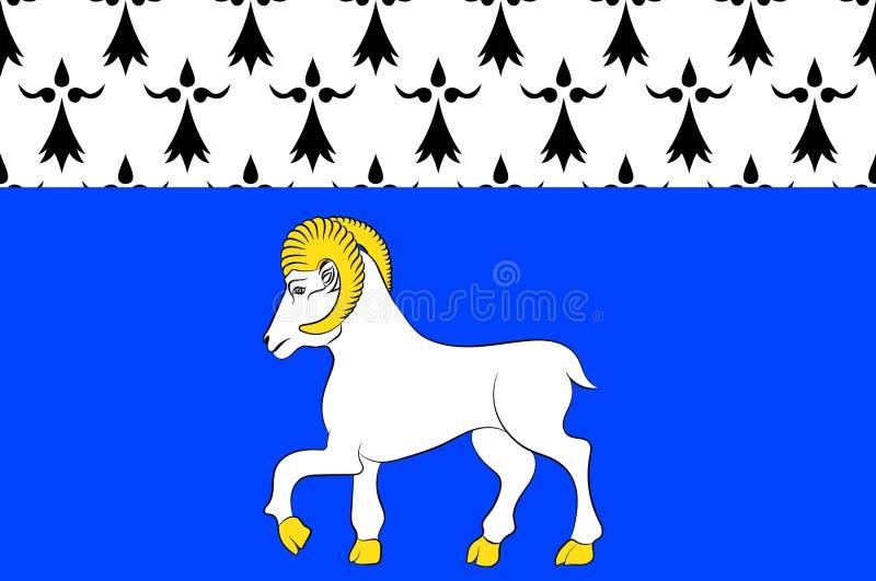 坎佩尔旗子在菲尼斯泰尔省在布里坦尼,法国 皇族释放例证