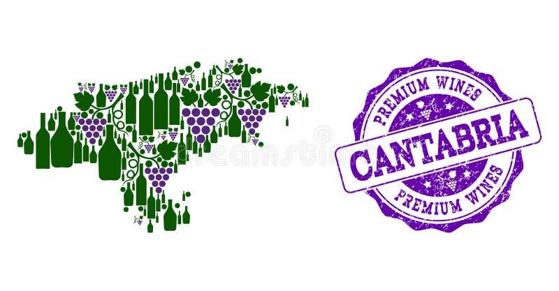 坎塔布里亚省葡萄酒瓶地图拼贴画和优质酒盖印 向量例证