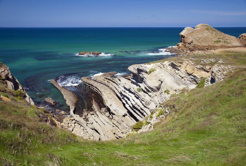 坎塔布里亚,肋前缘Quebrada,惊人的岩层 免版税库存照片