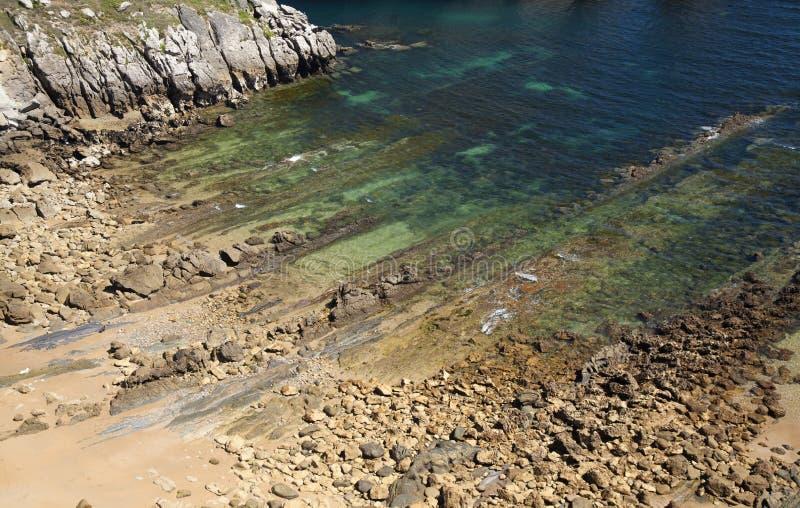 坎塔布里亚,肋前缘Quebrada,惊人的岩层 免版税库存图片