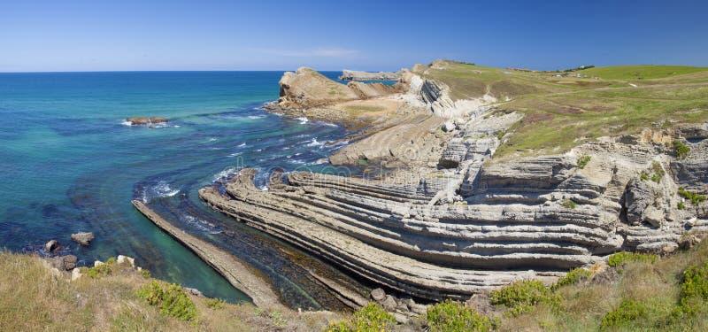 坎塔布里亚,肋前缘Quebrada,惊人的岩层 免版税图库摄影