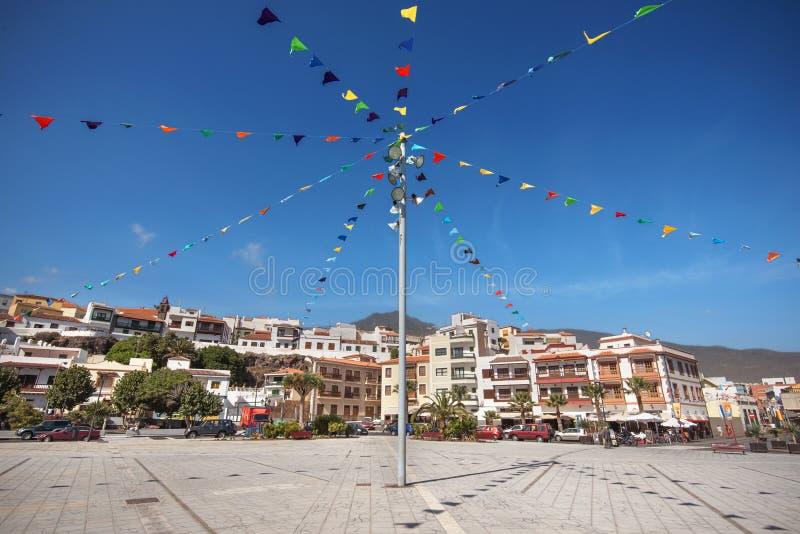 坎德拉里亚角在特内里费岛,加那利群岛,西班牙主修正方形,著名旅游镇 免版税库存图片