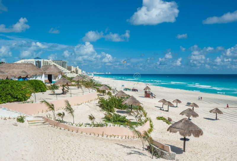 坎昆海滩全景,墨西哥 库存图片