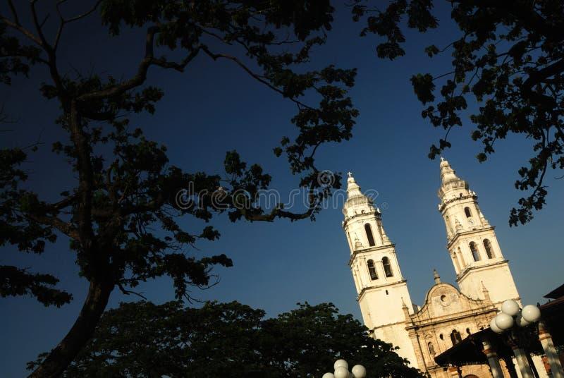 坎比其大教堂墨西哥 库存照片