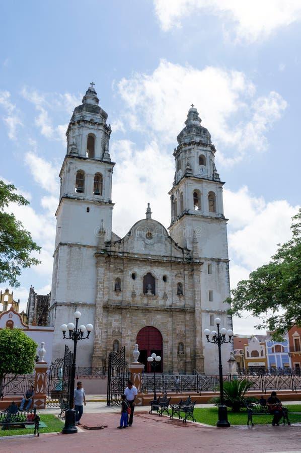 坎比其大教堂,教会在市中心,坎比其,墨西哥 图库摄影