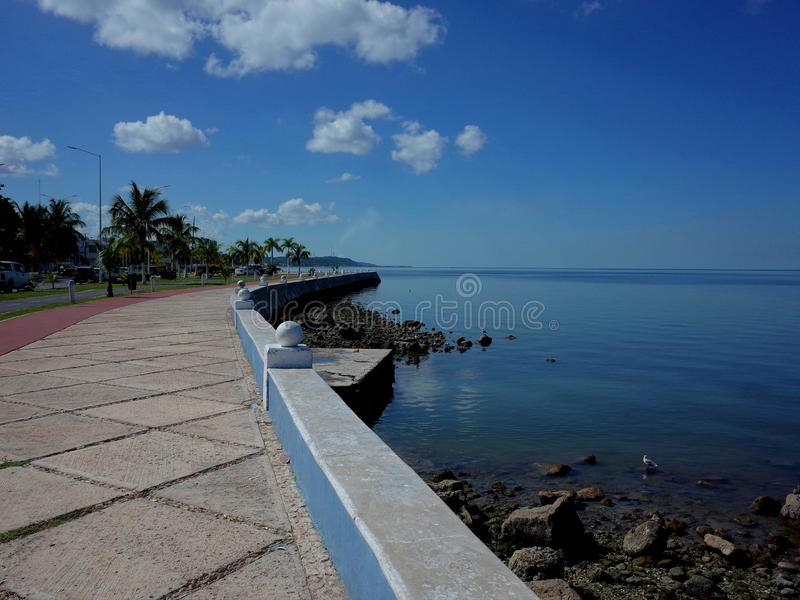 坎比其沿岸陆地散步在墨西哥 免版税库存照片