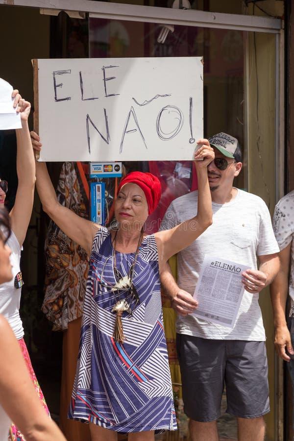 坎皮纳斯, São保罗,巴西- 2018年9月29日 反对极右派的政客Jair Bolsonaro的国庆节妇女 库存图片