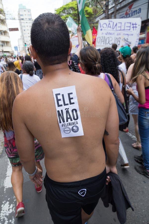 坎皮纳斯, São保罗,巴西- 2018年9月29日 抗议国庆节反对Bolsonaro的 免版税库存图片
