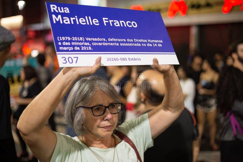 坎皮纳斯,SP,巴西- 2019年5月30日, 保卫教育的示范,反对Bolsonaro 免版税库存照片