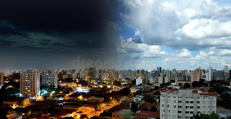 坎皮纳斯- SP大角度看法在巴西 夜以继日 免版税库存照片