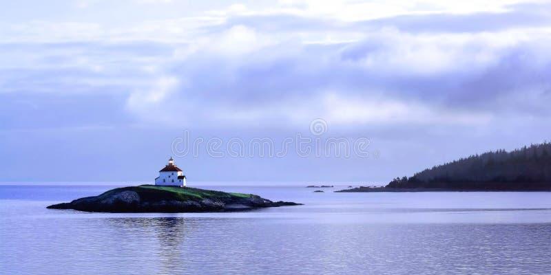 坎索海峡海岛灯塔 库存照片