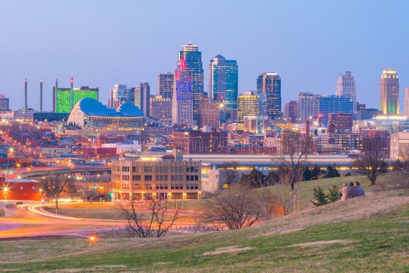 坎萨斯城地平线看法在密苏里 免版税库存照片