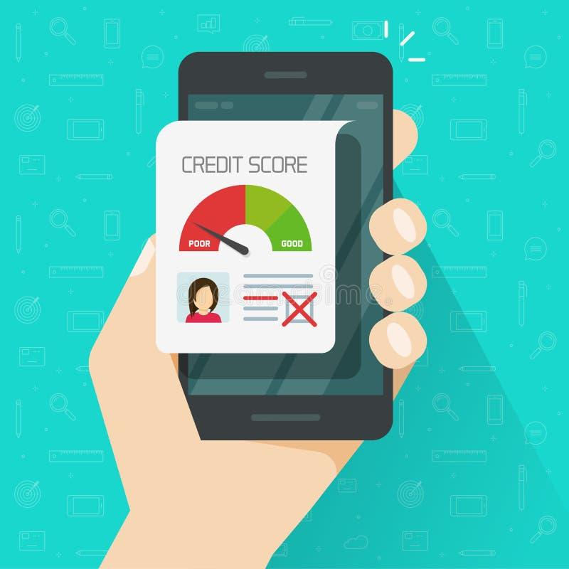 坏信用评分在网上在智能手机传染媒介例证,平的有信用卡记载文件的动画片手机 库存例证