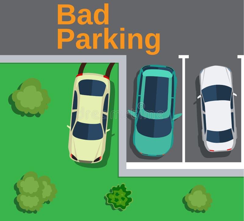 坏停车 在草坪停放的汽车 库存例证