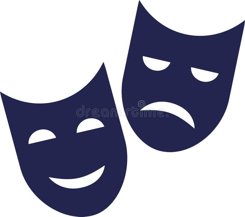 坏剧院的面具-好和 向量例证