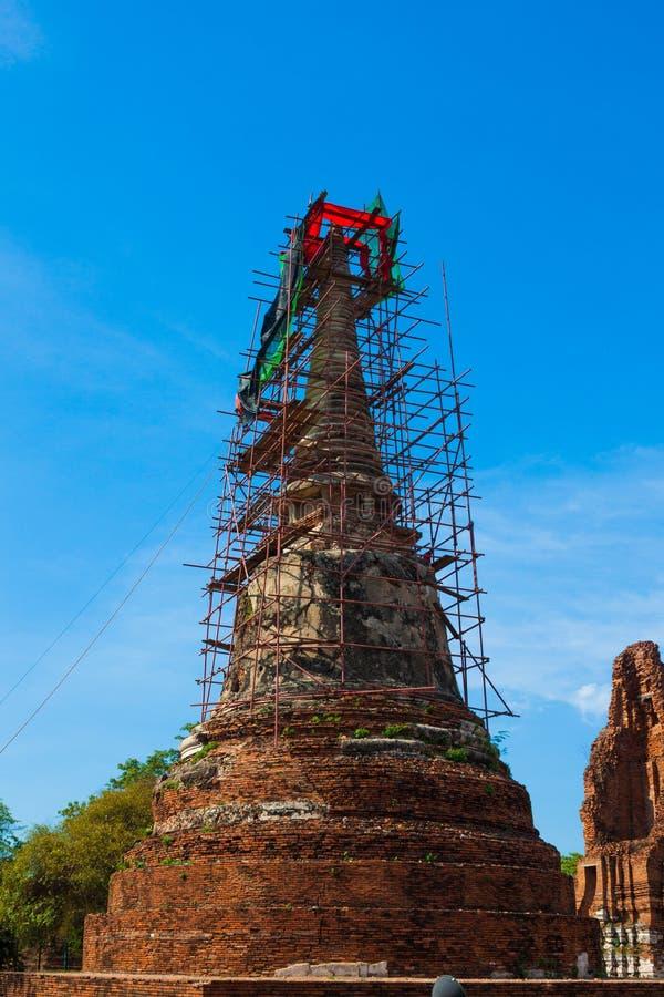 破坏寺庙,阿尤特拉利夫雷斯历史公园,泰国 免版税图库摄影