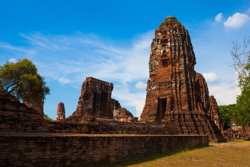 破坏寺庙,阿尤特拉利夫雷斯历史公园,泰国 免版税库存图片