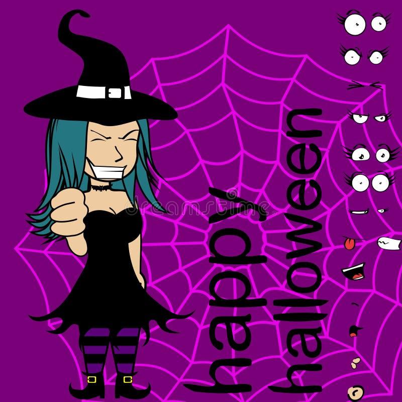 坏巫婆女孩动画片表示万圣夜收藏 向量例证