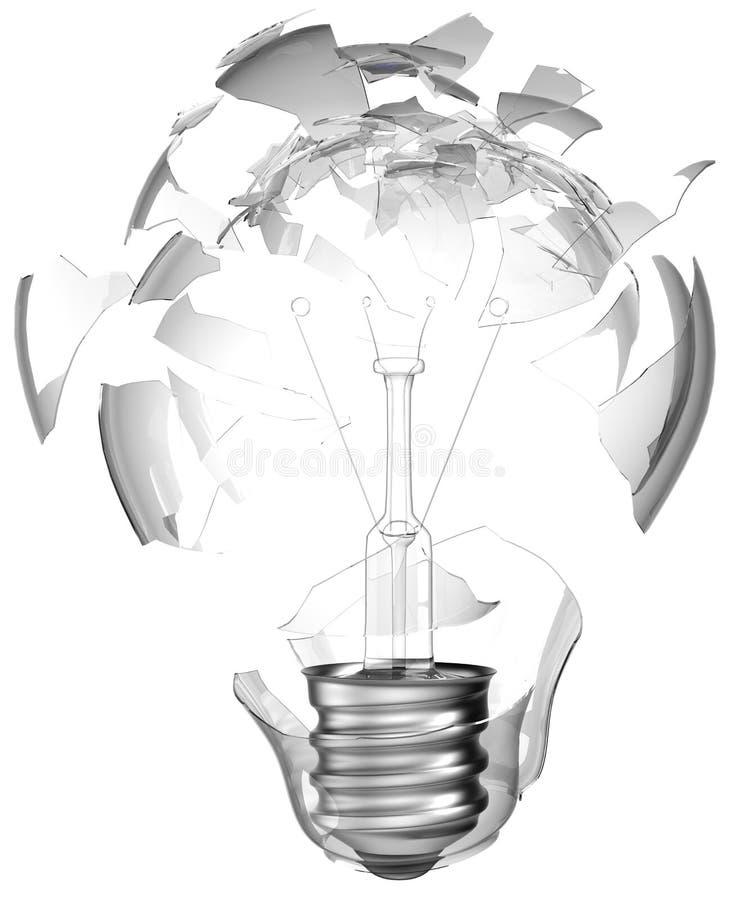 坏想法查出捣毁的电灯泡 库存例证