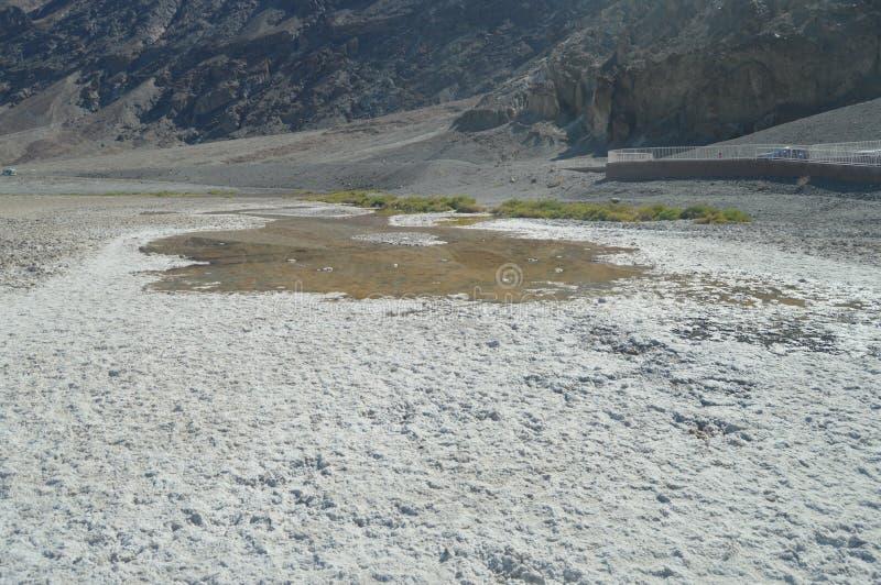 坏水池水 在海平面下的最低的地方 硕大盐盐水湖 旅行holydays地质 免版税库存照片