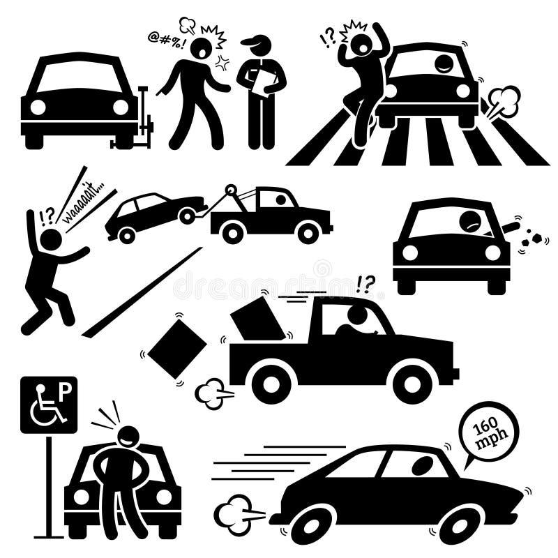 坏汽车司机愤怒的驾驶的Clipart 向量例证