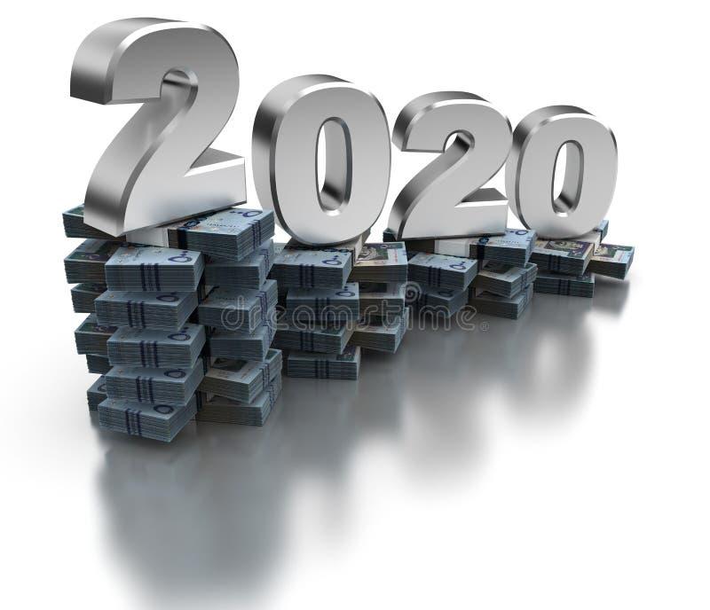 坏沙特阿拉伯经济2020年 库存例证