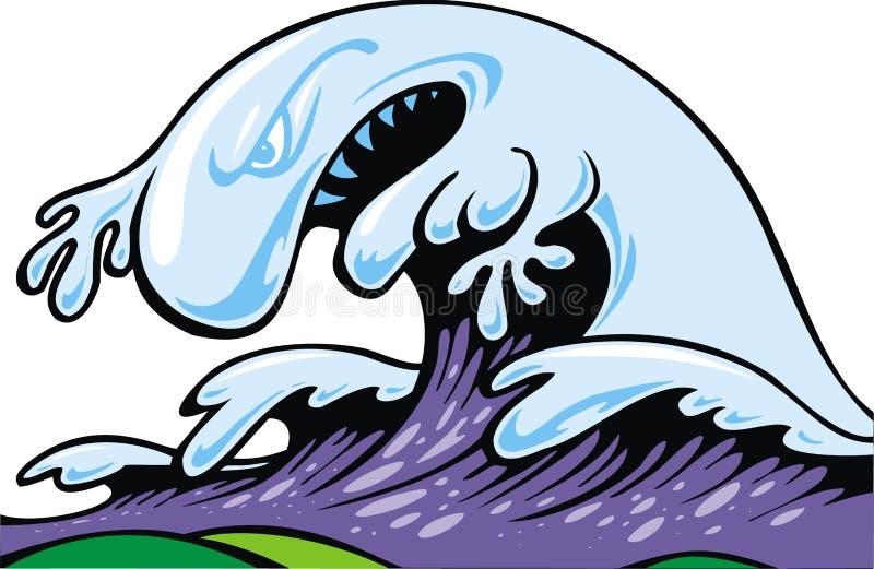 坏海啸波浪 向量例证