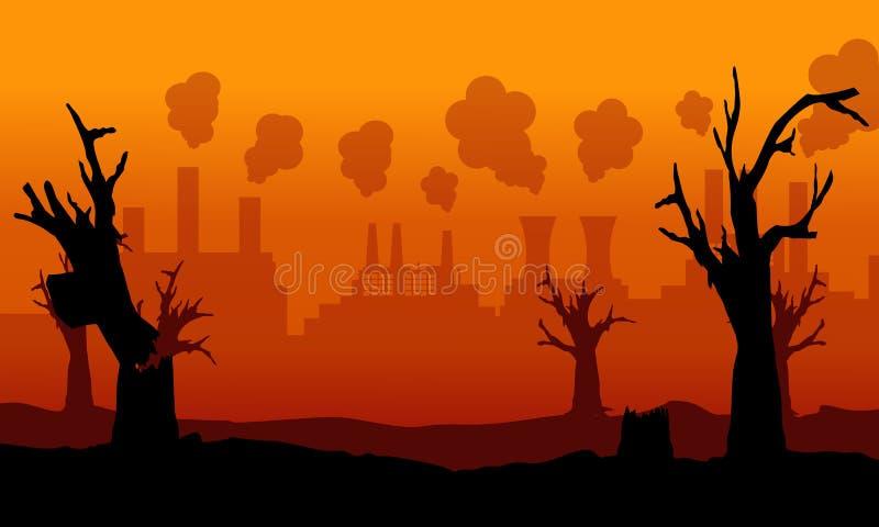 坏环境的汇集与森林的火的 向量例证