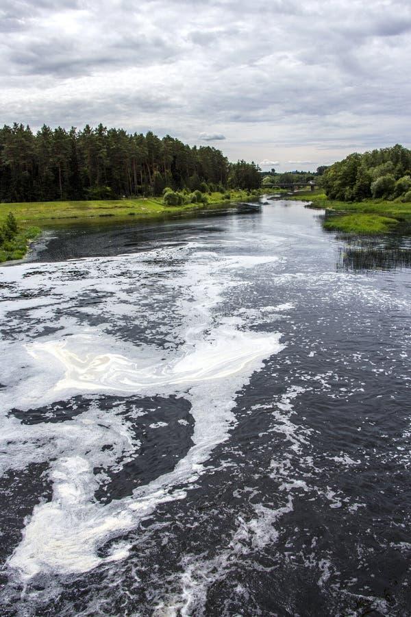 坏的水 绿色附注污染水 库存照片