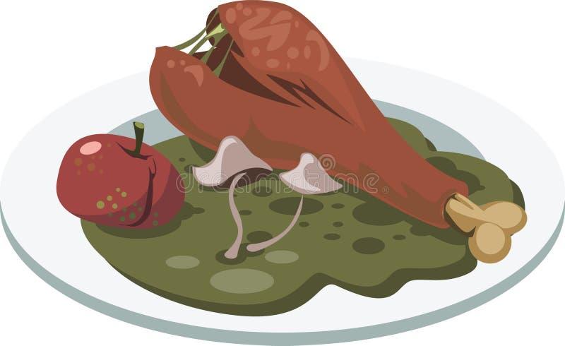 坏食物 有腐烂的鸡` s腿、苹果和蘑菇的板材 库存例证