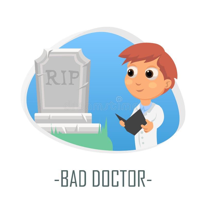坏医生医疗概念 也corel凹道例证向量 向量例证