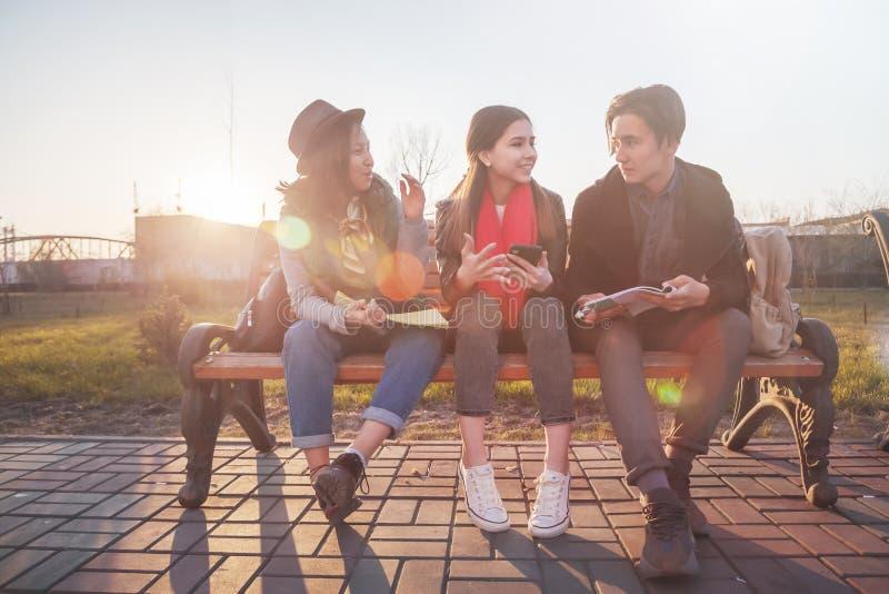坐一条长凳在公园和准备检查的小组亚裔少年学生学童 免版税图库摄影