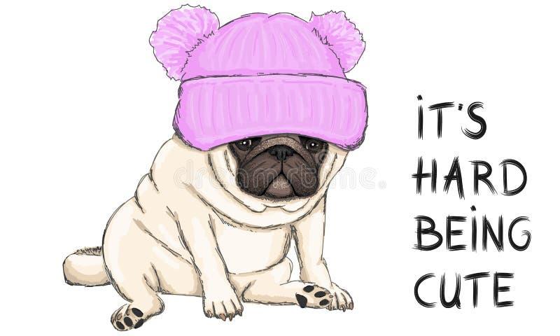 坐下与桃红色被编织的帽子的滑稽的哈巴狗小狗的传染媒介例证和发短信给它坚硬是逗人喜爱的 皇族释放例证