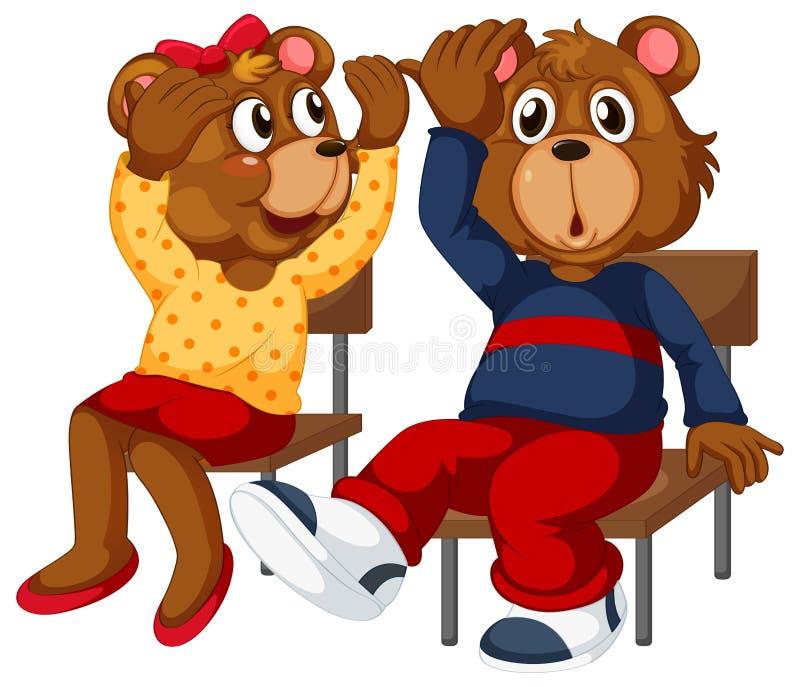 坐下两头的熊 皇族释放例证