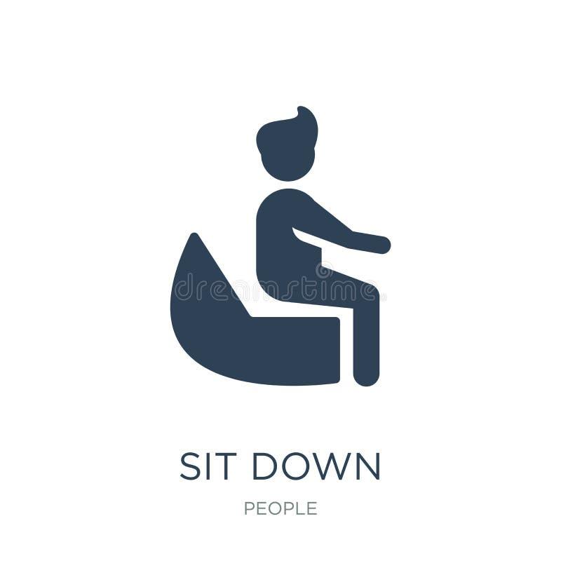 坐下在时髦设计样式的象 下来被隔绝的象坐白色背景 坐下传染媒介象简单和现代舱内甲板 库存例证