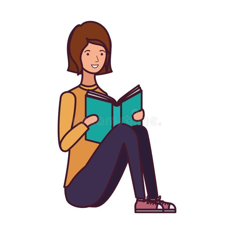 坐与书的妇女在手上 向量例证