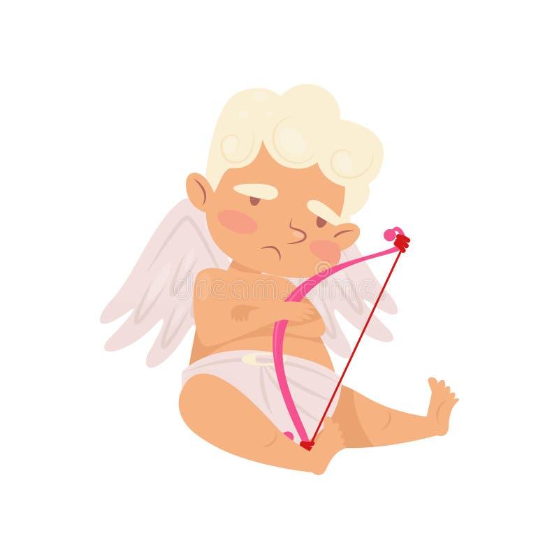 坐与哀伤的面孔表示的爱逗人喜爱的天使 与小的翼的动画片丘比特 有桃红色弓的男婴 平面 库存例证
