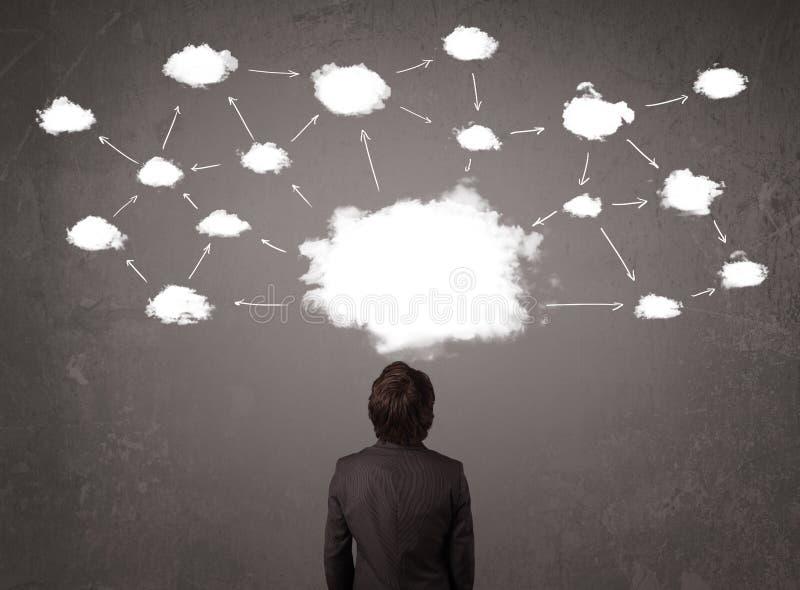 坐与在他的头上的云彩技术的商人 库存照片