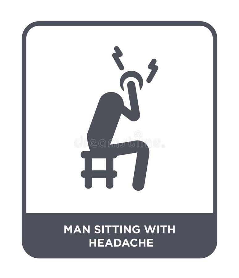 坐与在时髦设计样式的头疼象的人 人与被隔绝的头疼象坐白色背景 人开会 皇族释放例证