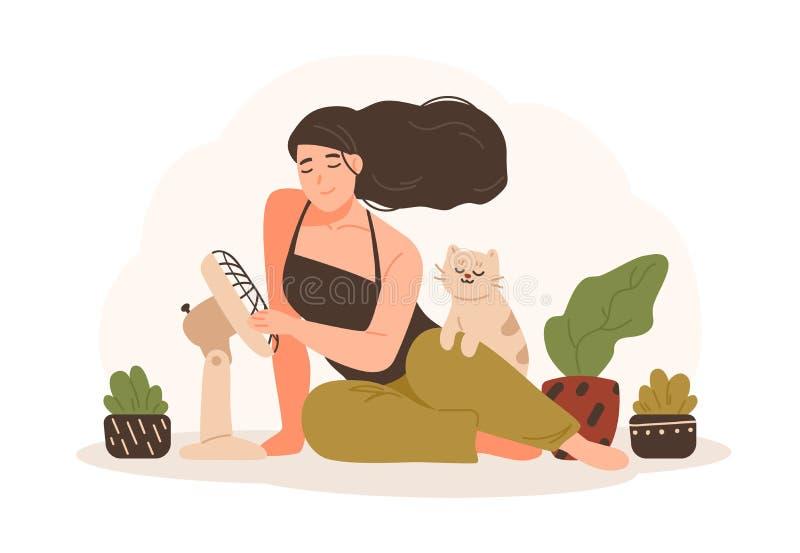 坐与她的宠物猫的地板和使用电扇的微笑的妇女画象变冷静 可爱的动画片 皇族释放例证