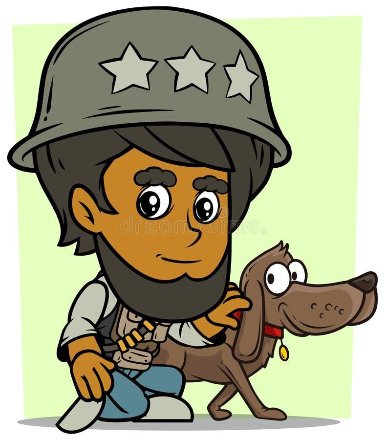 坐与狗的动画片阿拉伯男孩字符 库存例证