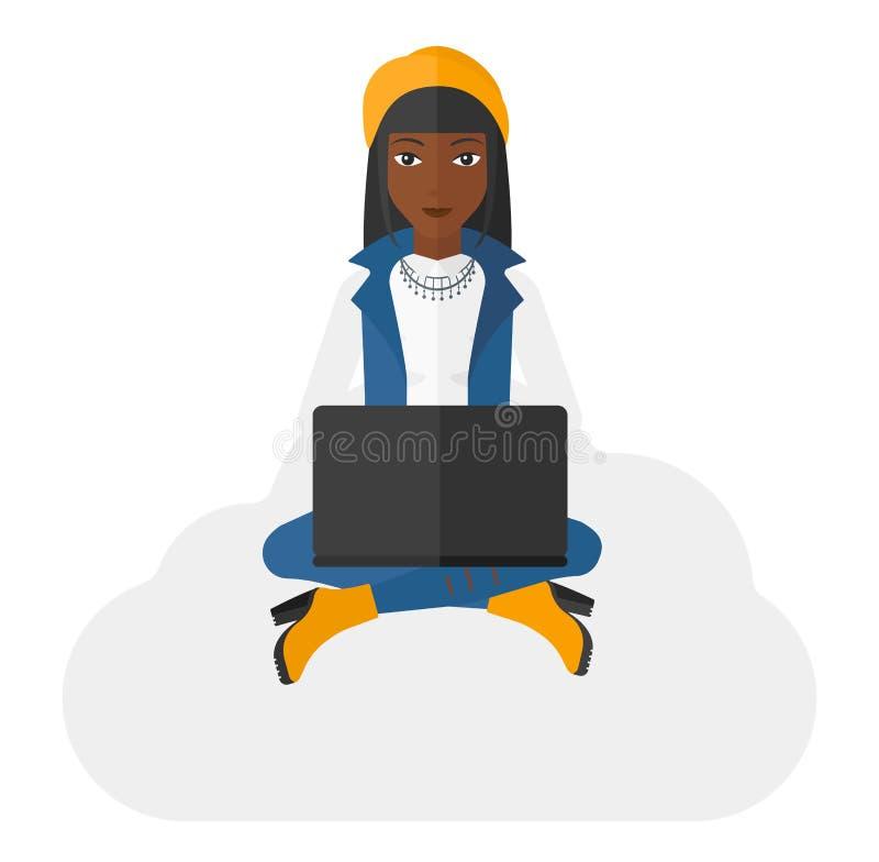 坐与膝上型计算机的妇女 库存例证